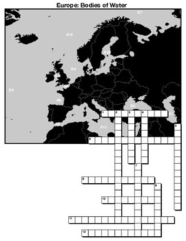 European bos of water Crossword, matching, and word search on