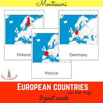 European countries on the map Montessori 3-part cards