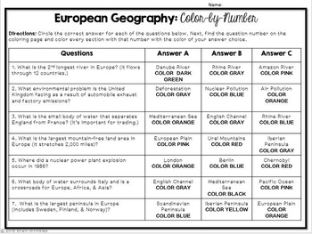 Europe's Geography: Color-by-Number