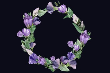 Eustoma Clip Art Set + Wreath