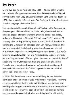 Eva Peron Handout