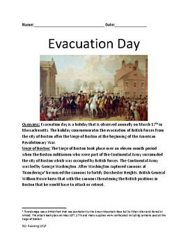 Evacuation Day - Boston March 17th - Siege of Boston lesson  facts questions