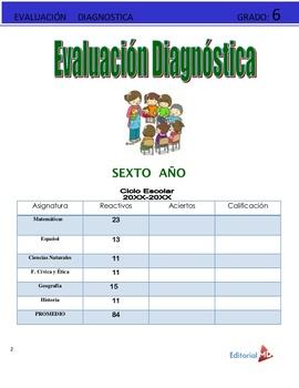 Evaluacion Diagnostica Sexto Grado de Primaria