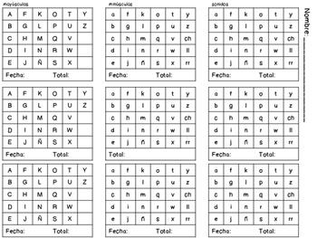 Evaluación conocimiento de letras, sonidos y palabras