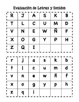 Evaluación de letras y sonidos
