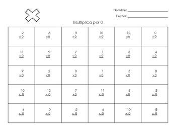 Evaluaciones de las tablas de multiplicacion