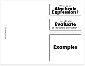 Evaluate Algebraic Expressions Foldable