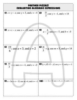 Evaluate Algebraic Expressions Partner Pizzaz!