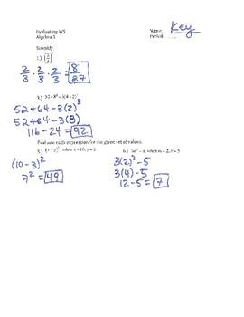 Evaluate Algebraic Expressions WS
