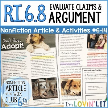 Evaluate Arguments & Claims RI.6.8   Pet Adoption Article #6-14