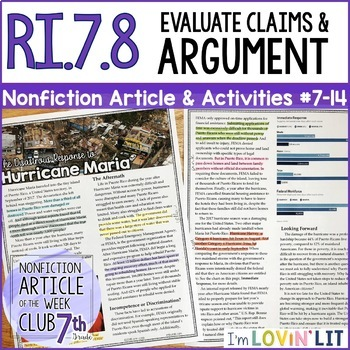 Evaluate Arguments & Claims RI.7.8 | Response to Hurricane Maria Article #7-14