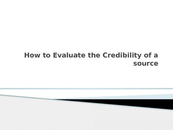 Evaluate Credibility of a Source when researching