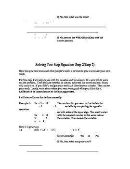 Evaluate Equations - Two Step
