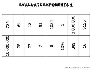Evaluate Exponents 1 Solve, Color, Cut