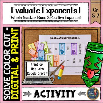 Evaluate Exponents 1 Solve, Color, Cut Distance Learning Math