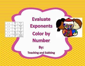 Evaluate Exponents Color by Number