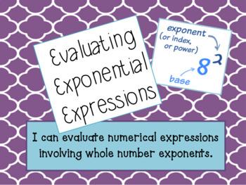 Evaluate Exponents Lesson Bundle