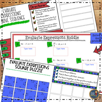 Evaluating Expressions Math Activities Google Slides and Printable