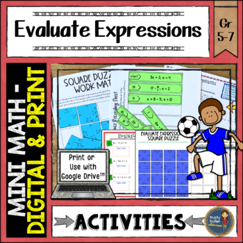 Evaluating Expressions Math Activities Google Slides and P