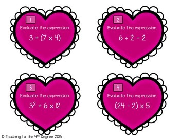 Evaluate Expressions: Order of Operations Task Cards