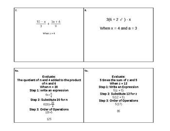 Evaluate Expressions Quiz-Quiz-Trade Cards