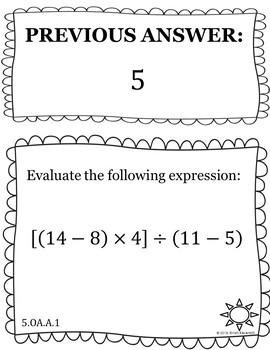 Evaluate Expressions - Scavenger Hunt (5.OA.A.1)