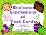Evaluate Expressions Task Cards for 6th Grade