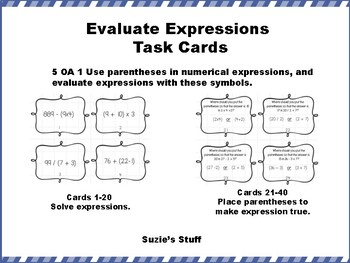 Evaluate Expressions Task Cards for 5th Grade