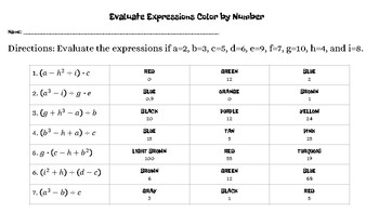 Evaluate Expressions Thanksgiving Color by Number