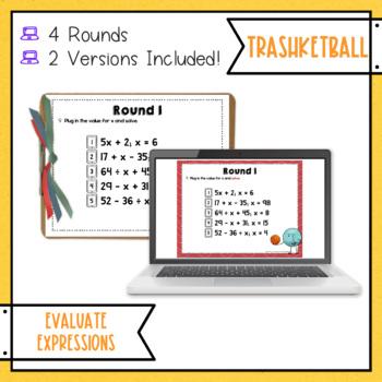 Evaluating Expressions Trashketball Math Game