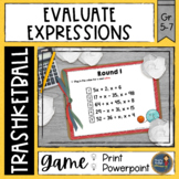 Evaluating Expressions Trashketball Math Game