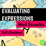Evaluating Expressions Word Scramble Activity