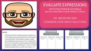 Evaluate Expressions with Fractions & Decimals (PowerPoint