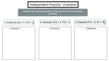 Evaluate Expressions with Fractions & Decimals (PowerPoint Lesson & Printables)