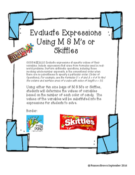 Evaluate Expressions with M & M's (or Skittles)