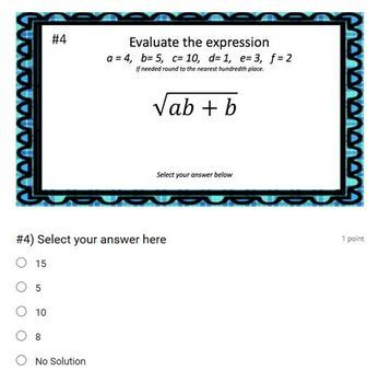 Evaluate Expressions with Square Roots (Google Form & Video Lesson!)