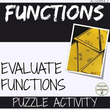 Evaluating Functions Puzzle Activity for Algebra 2 and PreCalculus