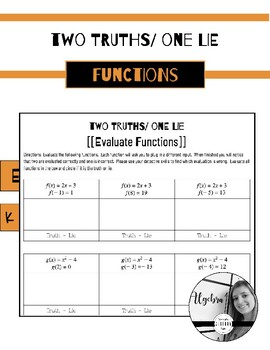 Evaluate Functions - - Two Truths, One Lie Game