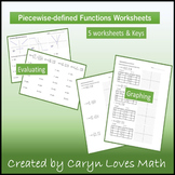 Piece-wise Functions~ Evaluate & Graph~ 5 Practice Worksheets