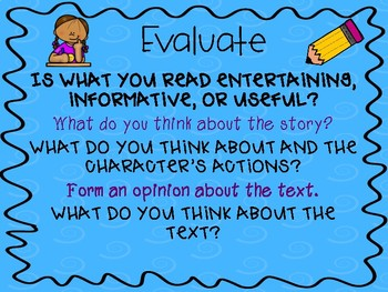 Evaluate: Guided Reading Graphic Organizers and Poster!