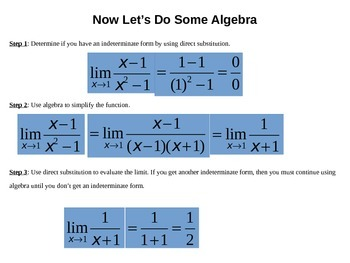 Evaluate Limits Algebraically