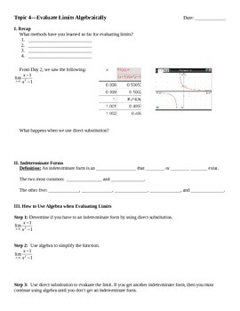 Evaluate Limits Algebraically Notes