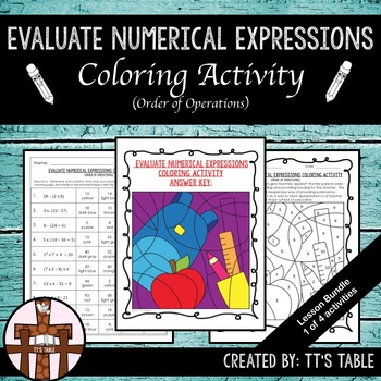 Evaluate Numerical Expressions Coloring Activity