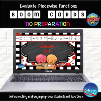 Evaluate Piecewise Functions - 25 Boom Cards