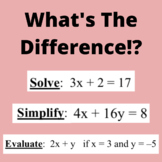 Evaluate, Solve, Simplify - Do Now