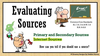 Evaluating Resources Internet Website Research Primary Sec