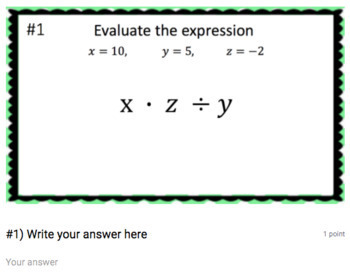 Evaluate Variable Expressions (Google Form & Interactive Video Lesson!)