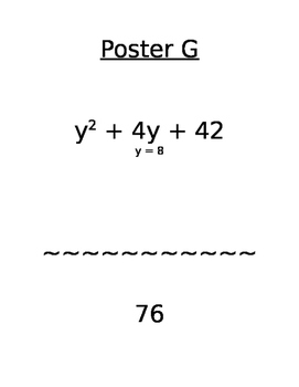 Evaluate Variable Expressions (easy) Poster Journey