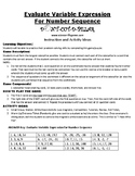 Evaluate Variable Expressions for Number Sequences Game Puzzle with Worksheet