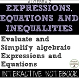 Evaluate and Simplify Algebraic Equations Interactive Notebook for Algebra 2